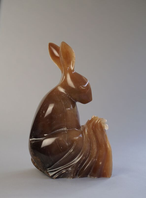 Meadow Rest Brown Or European Hare Stone Sculpture In Brown Alabaster By Veronica Dance