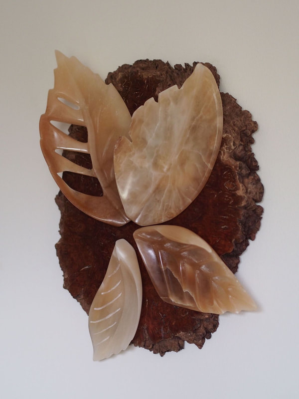 Fall Autumn Leaves Stylised Stone Sculpture Wall Mounted Plaque In Brown Alabaster And Burr Wood Mount By Veronica Dance