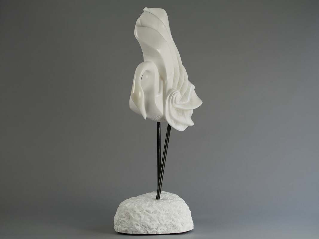 Flamenco In The Snow Japanese Crane Stylised Stone Sculpture In White Alabaster By Veronica Dance