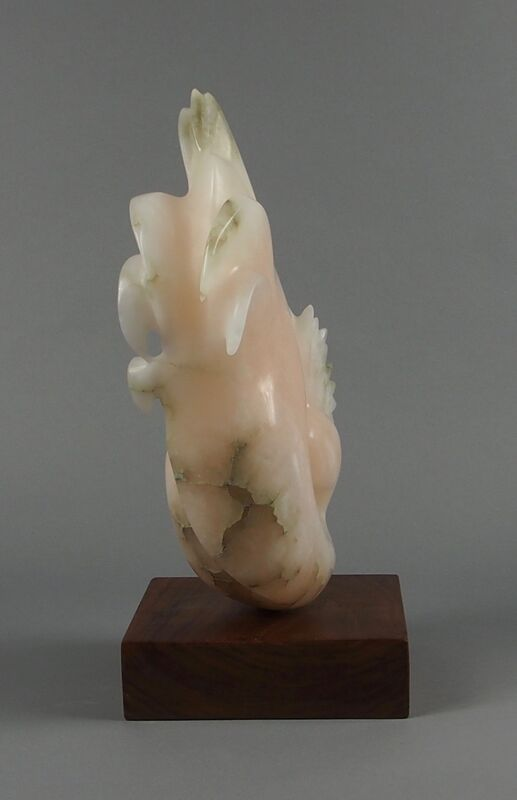 Salmon Crested Cockatoo Pink Cockatoo Stylised Stone Sculpture In Pink Alabaster By Veronica Dance