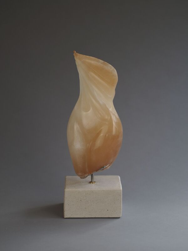 She-Shell Female Form Figurative Stylised Stone Sculpture In Brown Alabaster By Veronica Dance